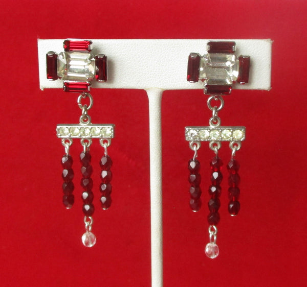 Pair of Vintage Red & Clear Crystal Deco Screw Back Earrings