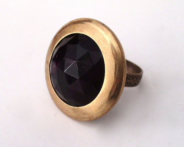 Victorian Button Ring With Amethyst Glass