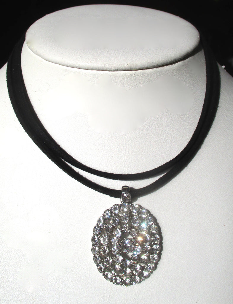 Vintage Rhinestone Choker With Double Black Suede Straps