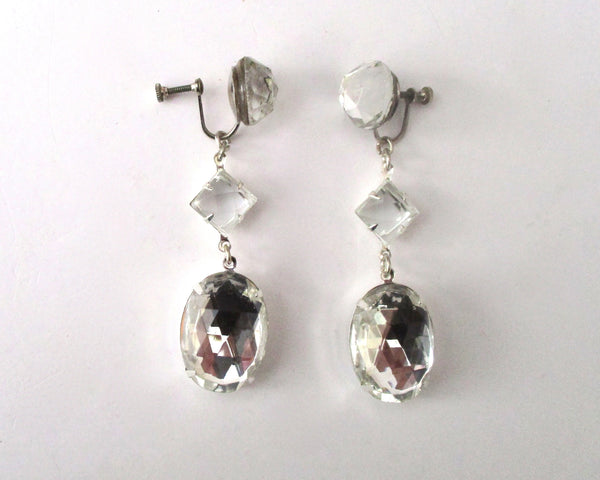Pair of Vintage Rose Cut Crystal Screw Back Earrings from the 1940's