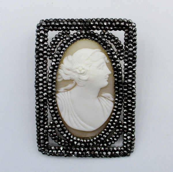 Antique Victorian Large Cut Steel With  Hand-Carved Natural Shell Cameo
