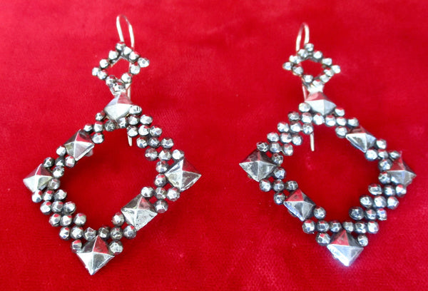 Pair of Deco Cut Steel Earrings from  1930's  France