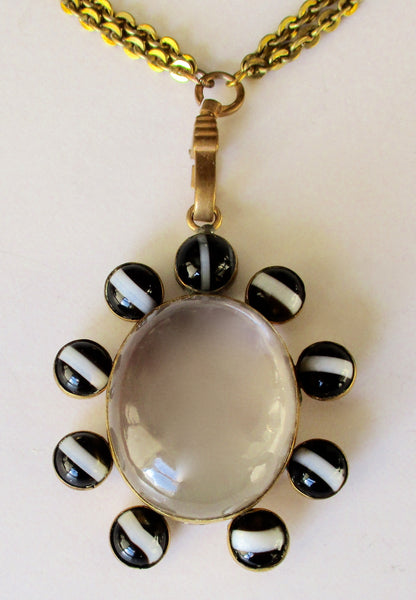 Antique Victorian Banded Agate Locket on a Chain