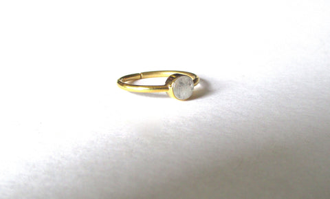Sterling Silver Moonstone Ring With Vermeil Finish