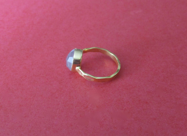Vintage Chalcedony Ring With Vermeil Finish