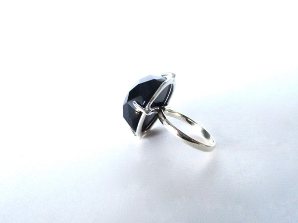 Large Black Onyx Ring Set in Sterling Silver