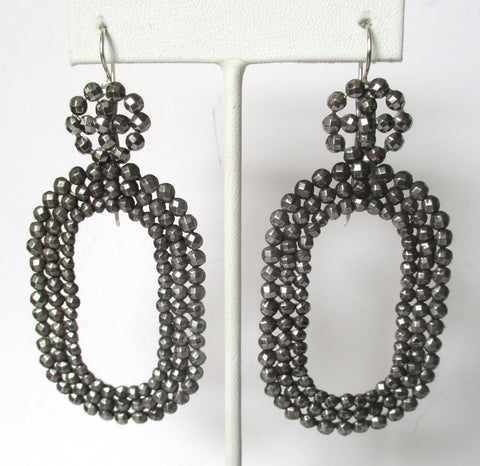 Pair of Antique 3 1/4-Inch Large  Cut-Steel Earrings With Sterling Silver Ear Wires