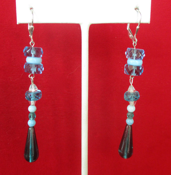 Pair of Vintage Art-Deco  Sterling Silver & Czechoslovakian Crystal Earrings