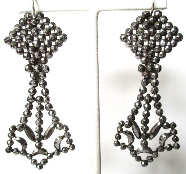 Pair of Large 3 1/4-Inch French Cut-Steel Earrings