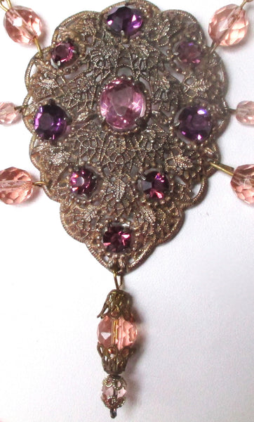 Vintage Pink Crystal Swag Necklace With Filigree Pendant