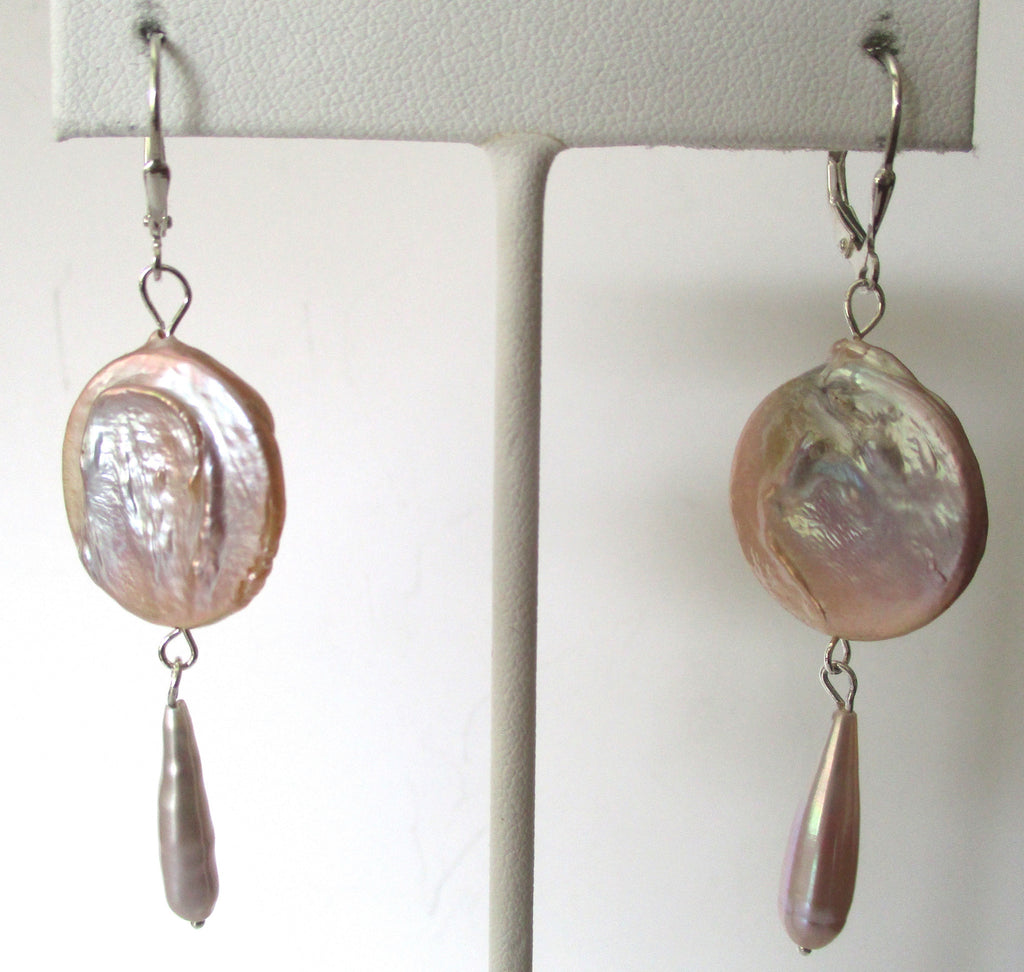 Pair of Natural Lavender Pearl Earrings