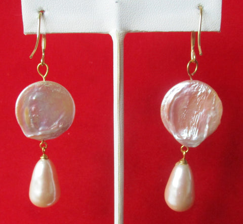 Lavender Pearl Drop Earrings