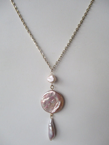 Lavender Pearl Drop Necklace