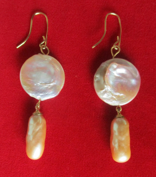 Pair of Lavender Natural Pearl Earrings