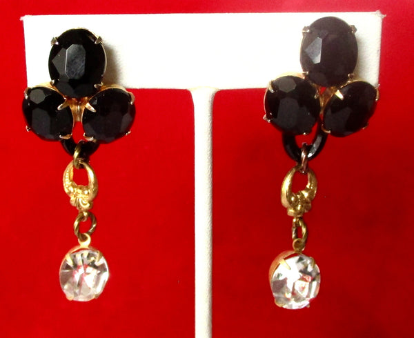Pair of Vintage French Jet & Crystal Clip Back Earrings