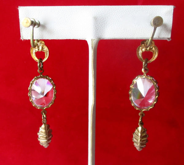 Pair of Vintage Screw Back Crystal & Brass Earrings