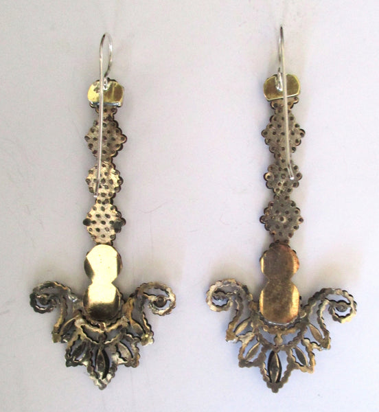 Pair of 3 1/2-Inch Long Antique  Cut-Steel Earrings With Sterling Silver Wires
