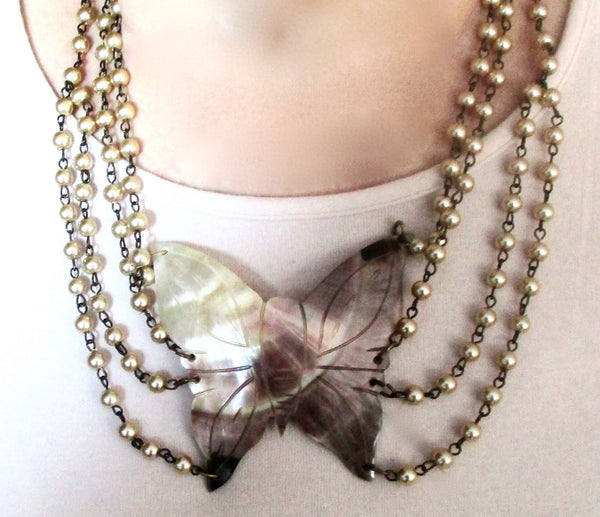 Vintage Mother-of-Pearl Butterfly Necklace With Glass Pearls