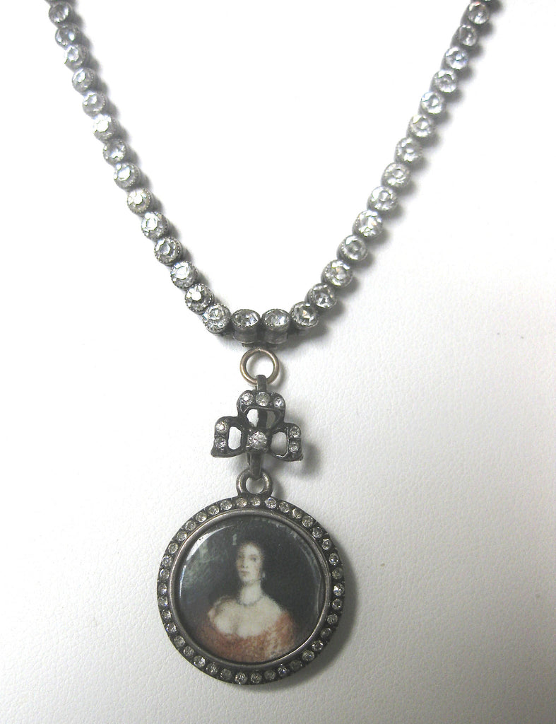 Victorian Silver & Paste Necklace With Victorian Hand-Painted Pendant