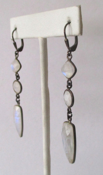 Pair of Vintage Sterling Silver &  Natural Rainbow Moonstone Earrings