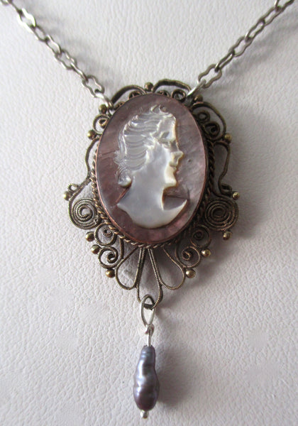 Vintage Sterling Silver & Mother-of-Pearl Cameo Pendant/Necklace