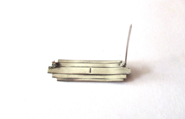 Art-Deco Sterling Silver & Paste Brooch