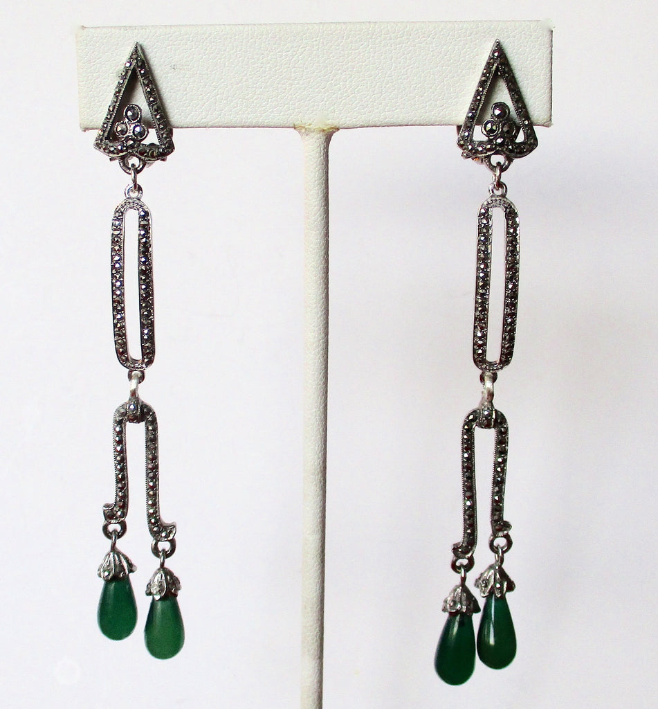 Pair of Vintage Clip-On Art-Deco Marcasite & Chrysoprase Earrings