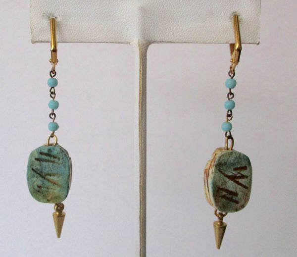 Pair of Vintage Clay Scarab Hippie/Boho Earrings from the 1960's