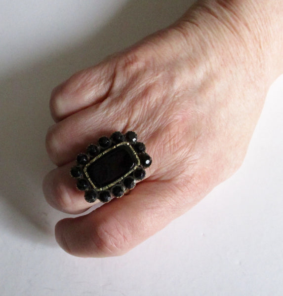 Antique Georgian Massive Melanite (Black Garnet) Mourning  Ring/Gothic/Steampunk