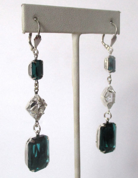 Pair of Vintage 3 Inch Crystal &  Green Paste Earrings
