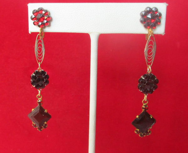 Pair of Vintage Dark Red Burgundy Crystal Screw Back Earrings