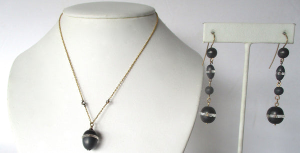 Deco Natural Matte Hematite Jewelry Set:   Necklace With Earrings