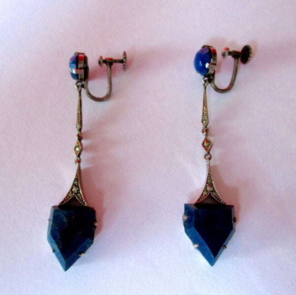 Pair of Vintage Egyptian Revival Earrings With Sterling Silver Wires