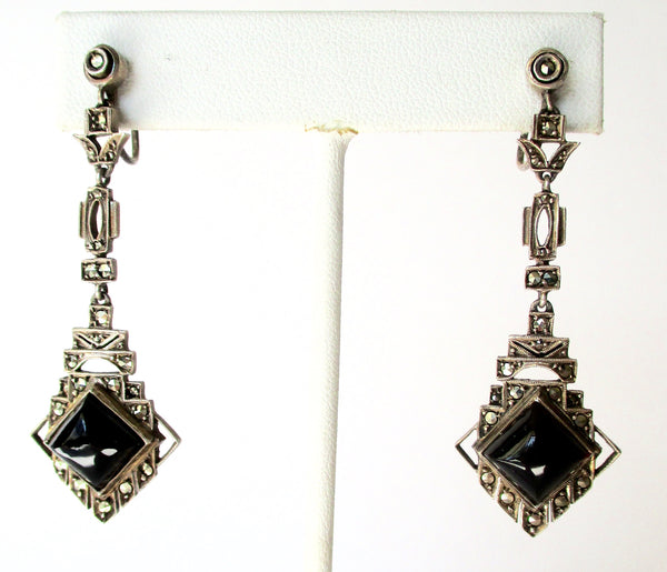 Pair of Antique Sterling Silver & Black Onyx Screw-Back Earrings With Marcasites