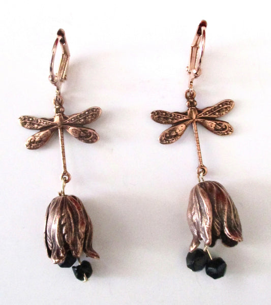 Pair of Vintage Solid Copper Dragonfly & Tulip Vintage Earrings