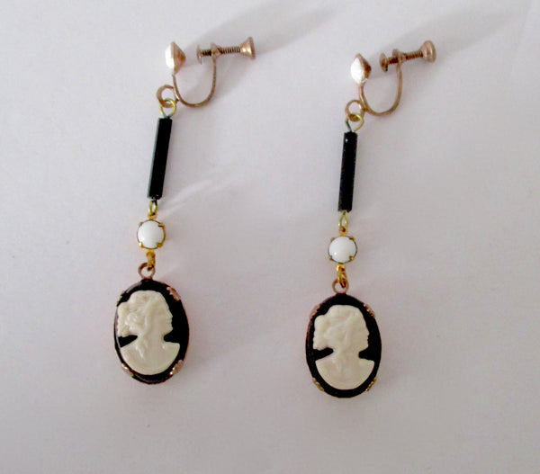 Pair of Antique Glass Black & White Screw-Back Cameo  Earrings