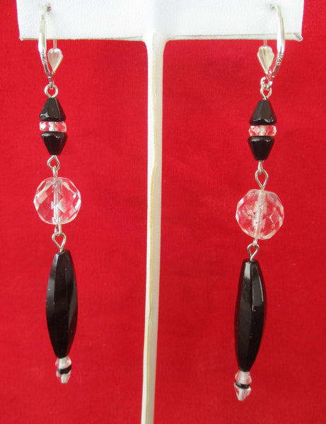 Pair of Deco 3 1/2-Inch  French Jet & Clear Crystal Earrings With Sterling Silver Wires