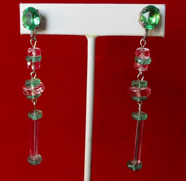 Pair of Antique Screw-Back 3-Inch Crystal Earrings