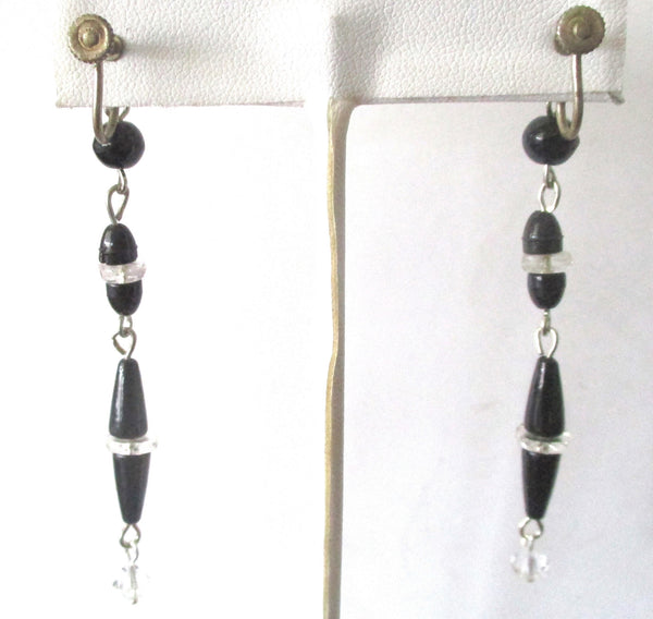 Pair of French Jet & Clear Crystal Vintage Earrings With Screw-Backs