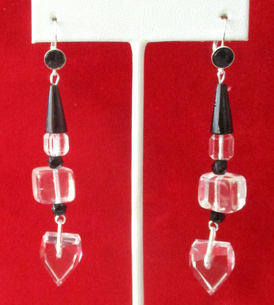 Pair of Vintage Sterling Silver Earrings With French Jet & Clear Crystal Beads