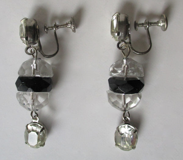 Pair of Clip-On Mid-Century French Jet Bead Earrings