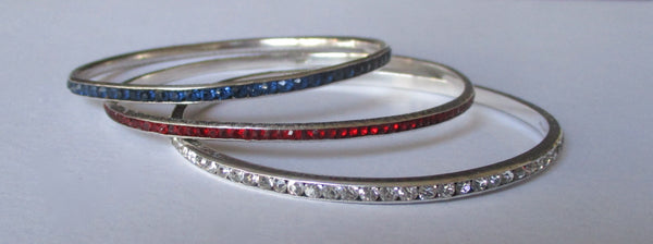 Set of (3) Antique Sterling Silver Paste  Bangle Bracelets  -  Red, White, & Blue