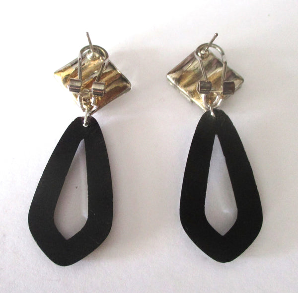 Vintage Art-Deco Style French Jet & Crystal Baguette Earrings