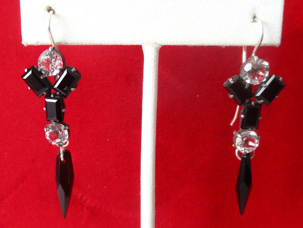 Pair of Antique Sterling Silver Earrings With French Jet & Clear Paste Stones