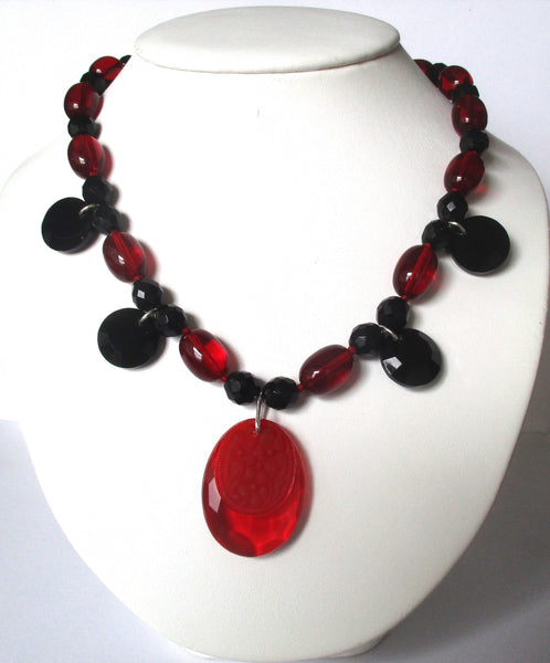 Vintage Deco  Red Crystal Necklace With Pendant