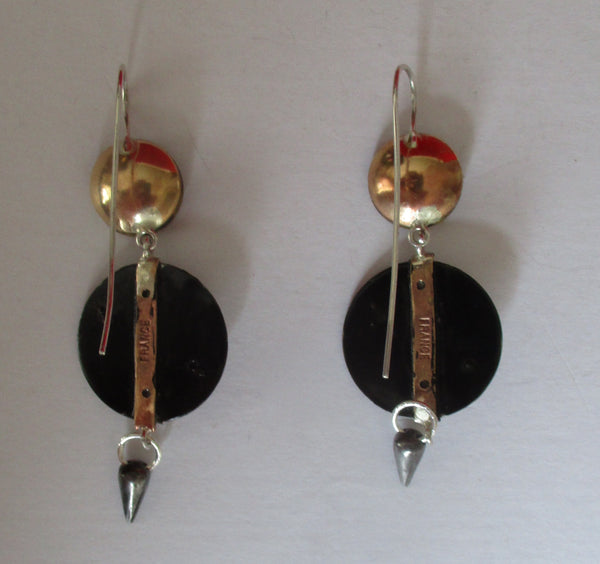Pair of Antique Cut Steel & Brass  Earrings