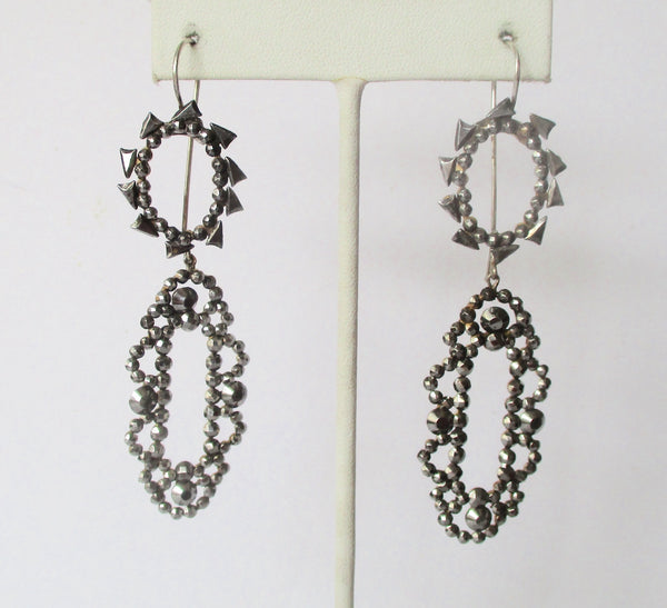 Pair of Antique 3 1/4-Inch  19th Century Cut Steel Earrings
