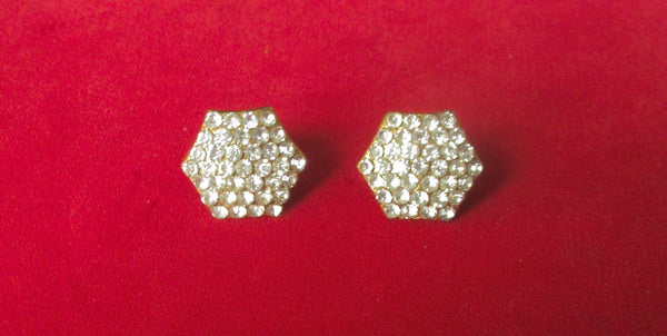 Pair of Vintage Deco Hexagon Paste Screw-Back Vermeil Earrings