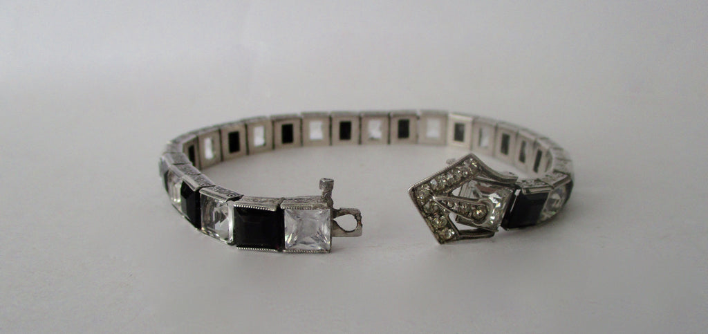 Vintage Sterling Silver Buckle  Line Bracelet With Black & Clear Paste Stones