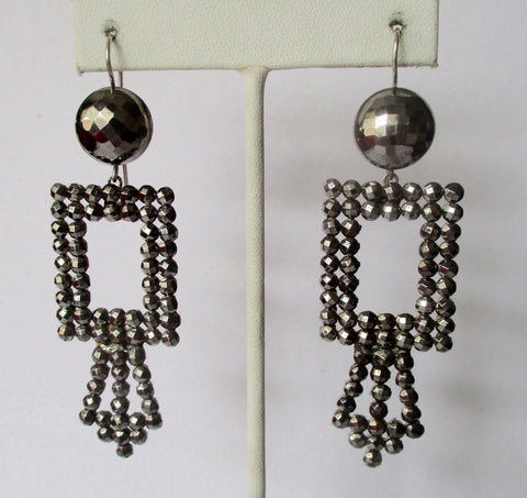 Pair of Antique Victorian-Era Cut Steel Earrings
